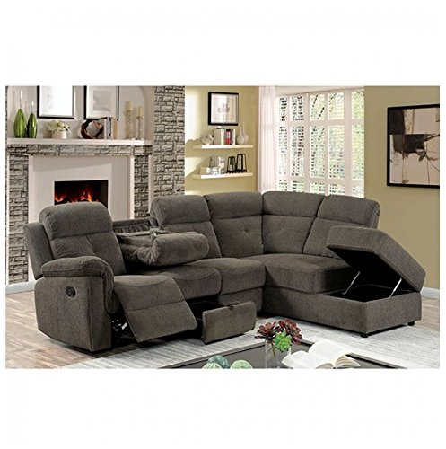 AVIA Sectional Reclining Sofa w Drop Down Console Storage Chaise ...