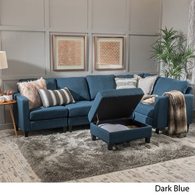 Surprising Christopher Knight Home 300117 Carolina Dark Blue Fabric Sectional Couch With Storage Ottoman Sofa Squirreltailoven Fun Painted Chair Ideas Images Squirreltailovenorg