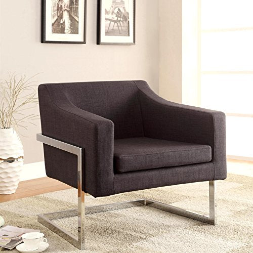 Admirable A Line Furniture Zoli Mid Century Modern Design Grey Upholstered Accent Chair With Chrome Base Dailytribune Chair Design For Home Dailytribuneorg