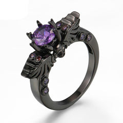 Black Vintage Skull Ring with Purple CZ Cubic Zirconia Set