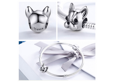 Heart Melting FRENCH BULLDOG Sterling Silver Charm - to Fit Pandora Charm Bracelets