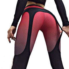 Patchwork Push Up Leggings with Sexy Suspender Design