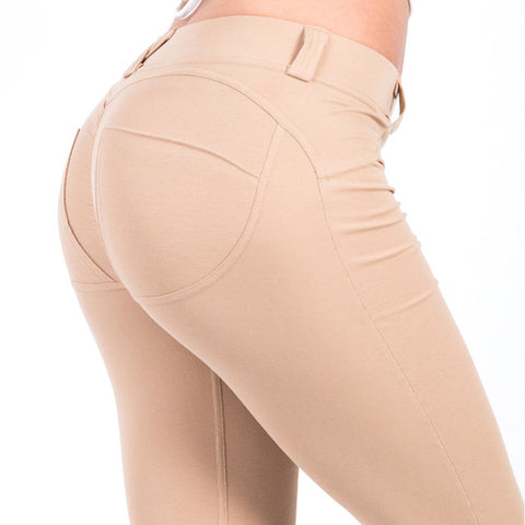 'Hip Solid' Low Waist, Elastic Legging-Trousers