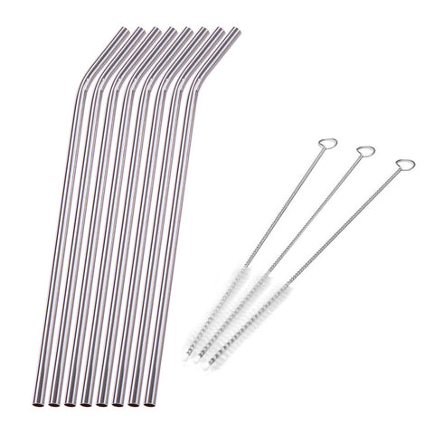 Eco Friendly Reusable Stainless Steel Straws - Set of 8pcs - + 3 Cleaning Brushes