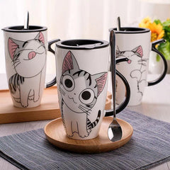 Adorable Kitten Ceramic Mugs with Travel Lid
