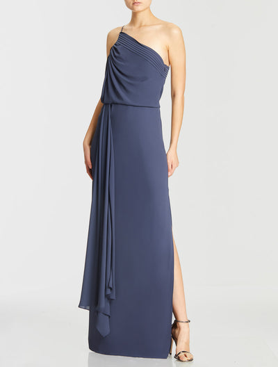 One Shoulder Pleated Shirred Gown