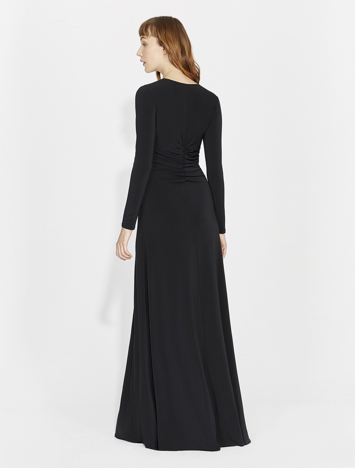LONG SLEEVE RUCHED FRONT GOWN - Halston