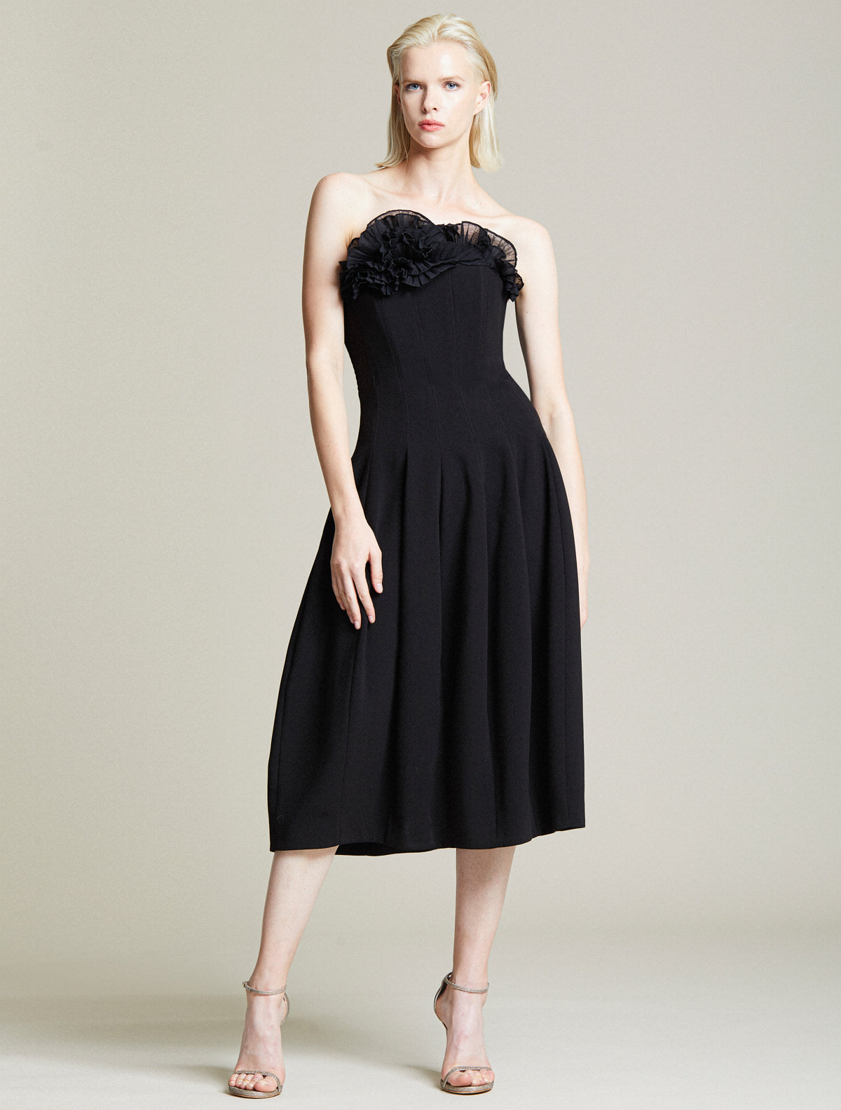 Abstract Ruffle Dress - Halston