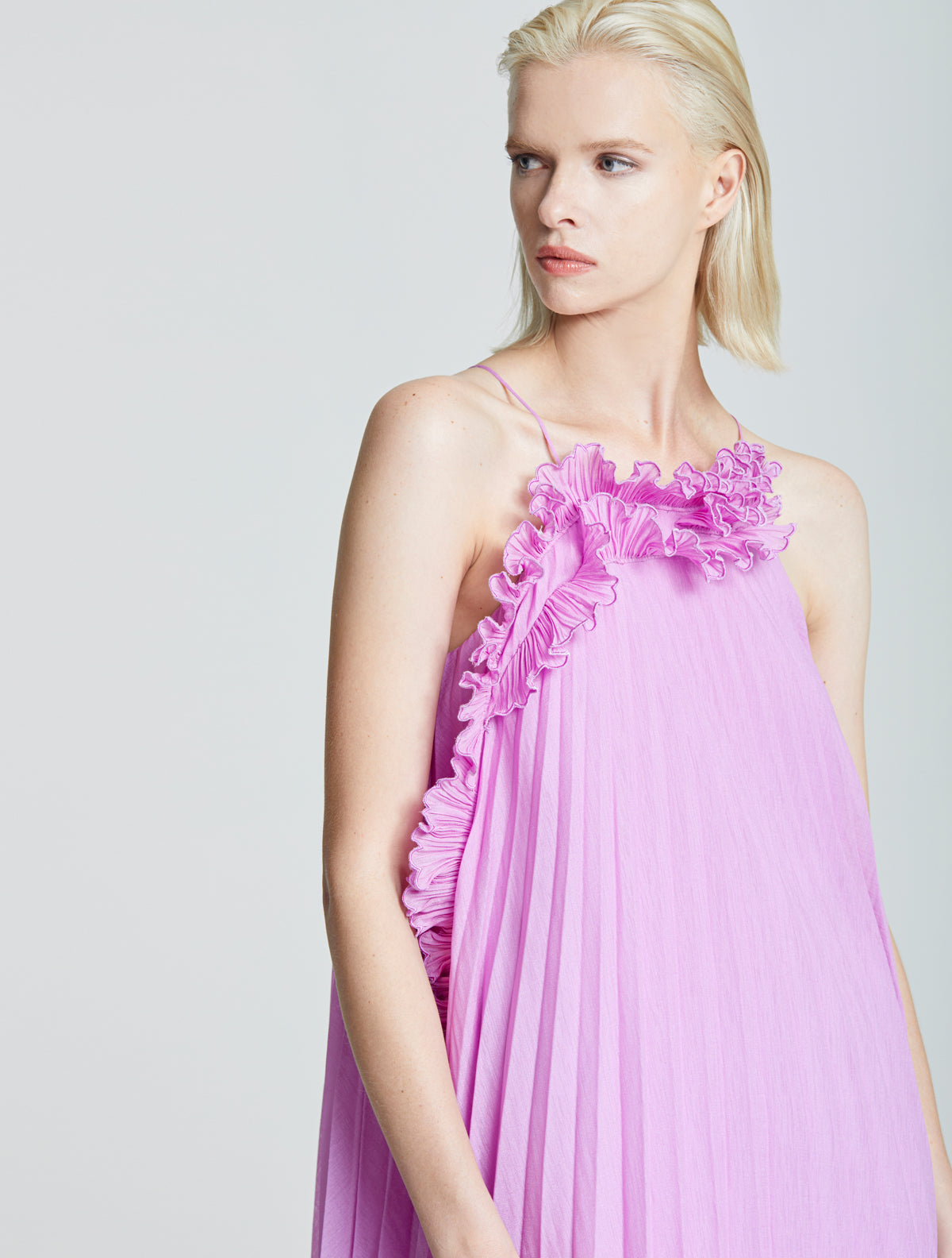 Pleated Ruffle Dress - Halston
