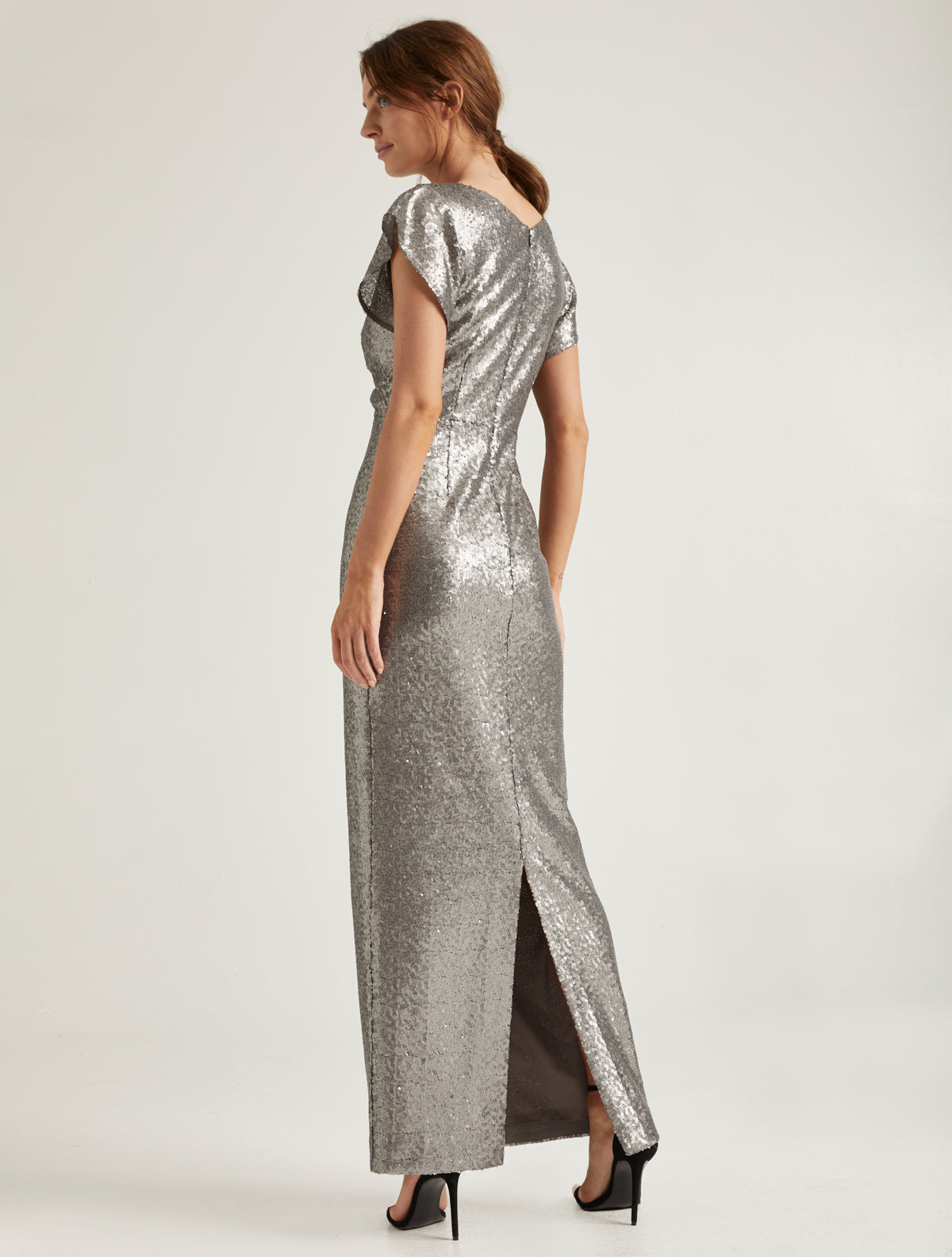 Cowl Sequined Gown - Halston
