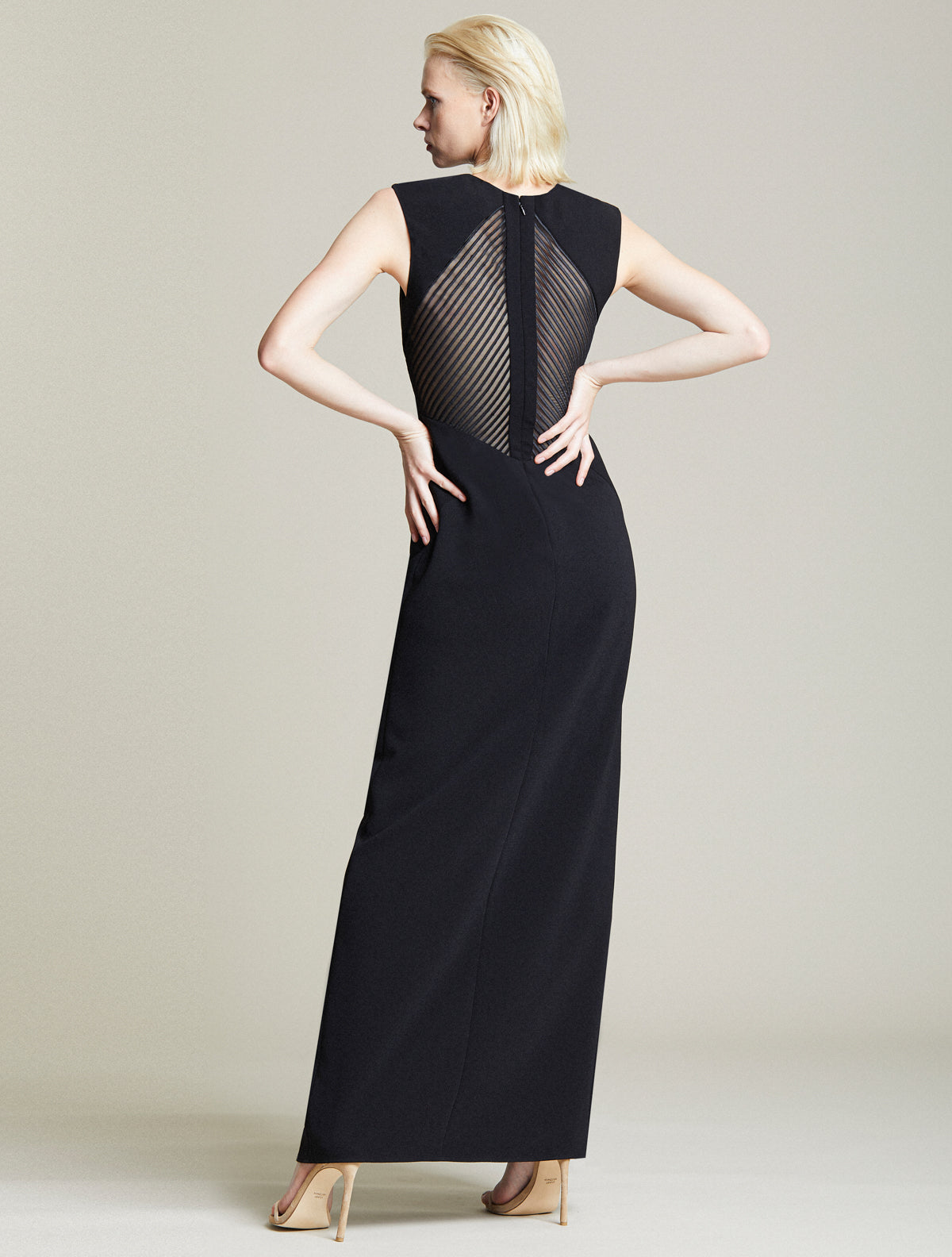 Embroidered Back Gown - Halston