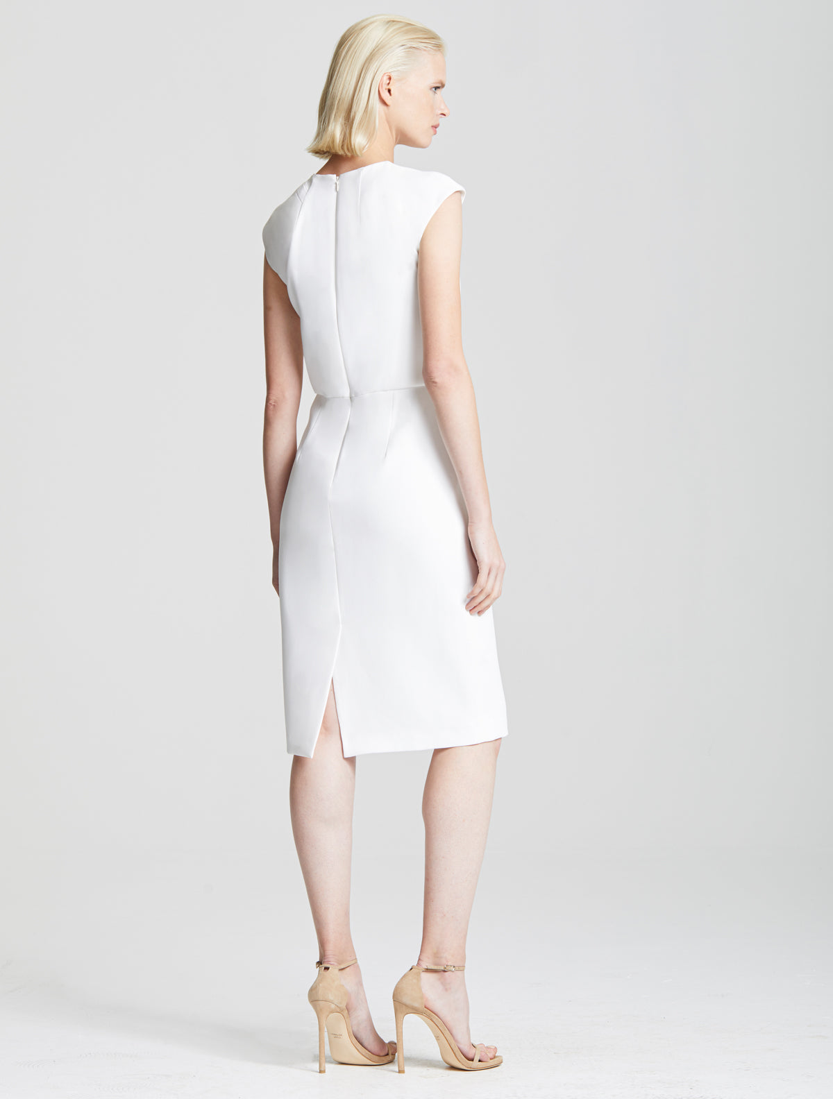 Drape Neck Crepe Dress - Halston