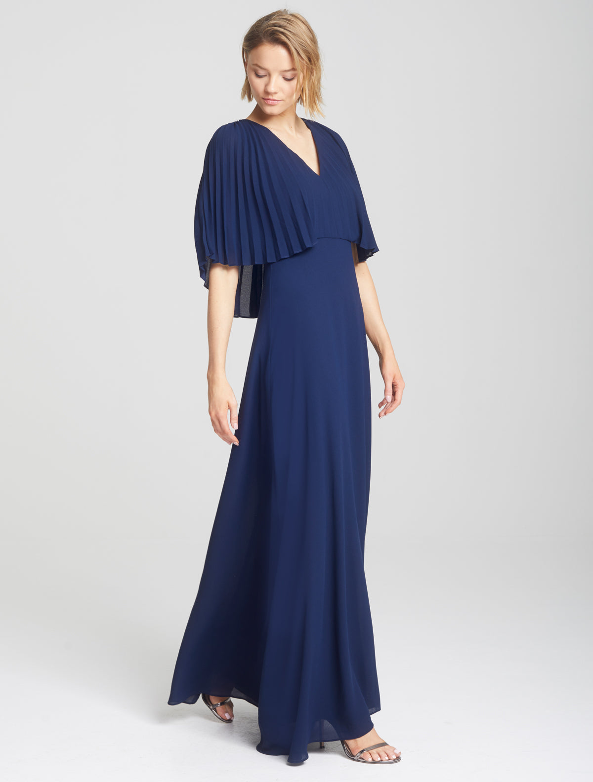 Pleated Cape Gown - Halston