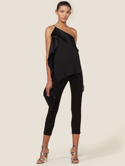 ONE SHOULDER ASYMMETRICAL TOP W SATIN DRAPE - Halston