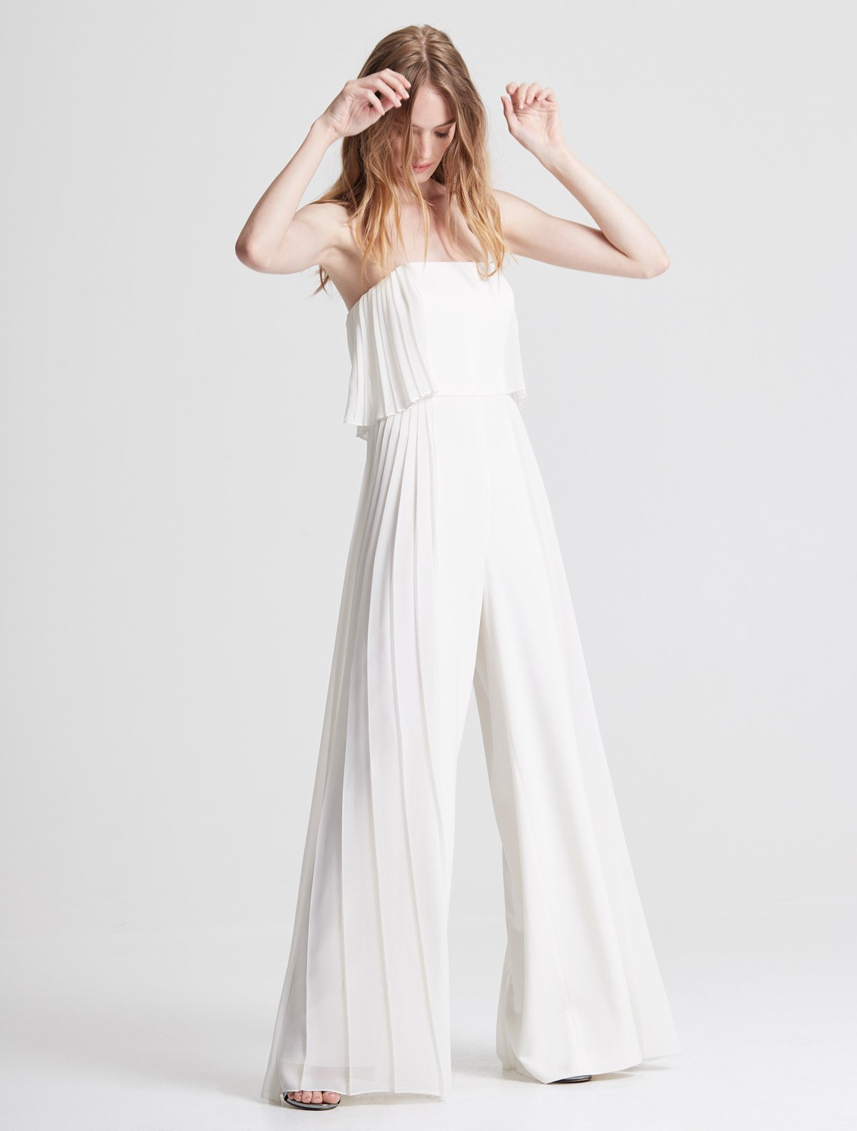 Strapless Pleated Jumpsuit - Halston