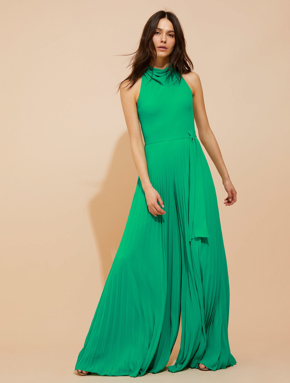 Pleated flowy silky georgette jumpsuit - Halston