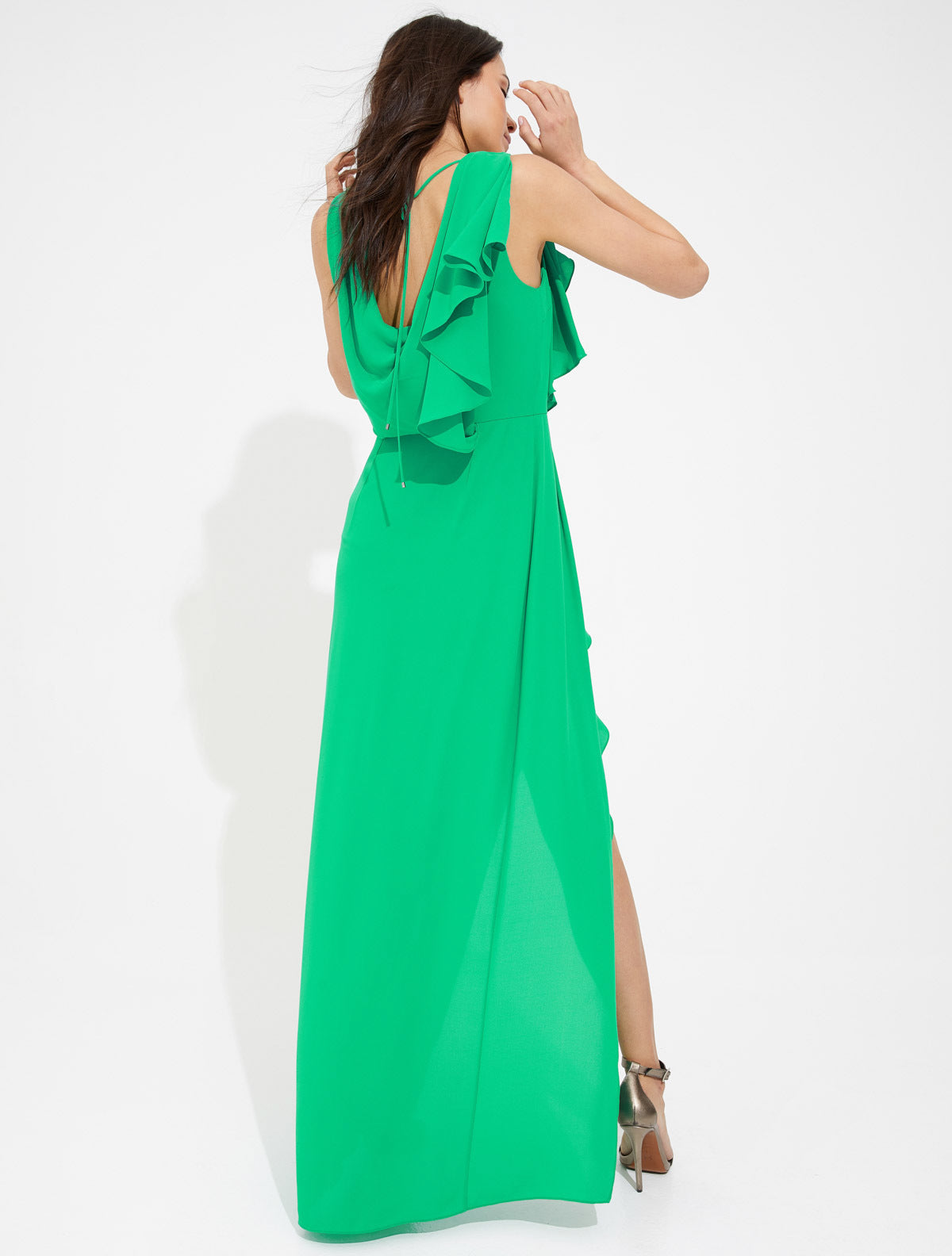 Draped silky georgette gown - Halston