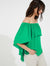 Off shoulder pleated silky georgette top - Halston