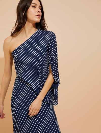Asymmetric Sleeve Stripe Printed - Halston