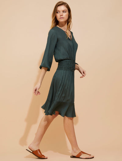 Smocked Waist Memory Georgette Dress - Halston