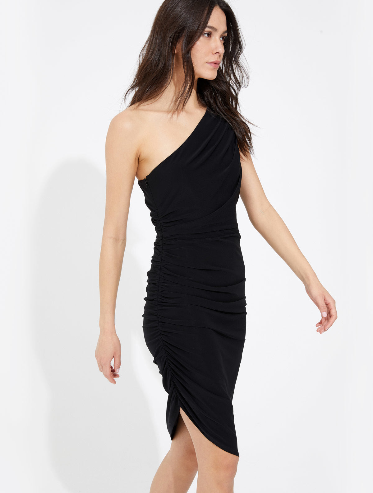 Asymmetric ruched jersey dress - Halston