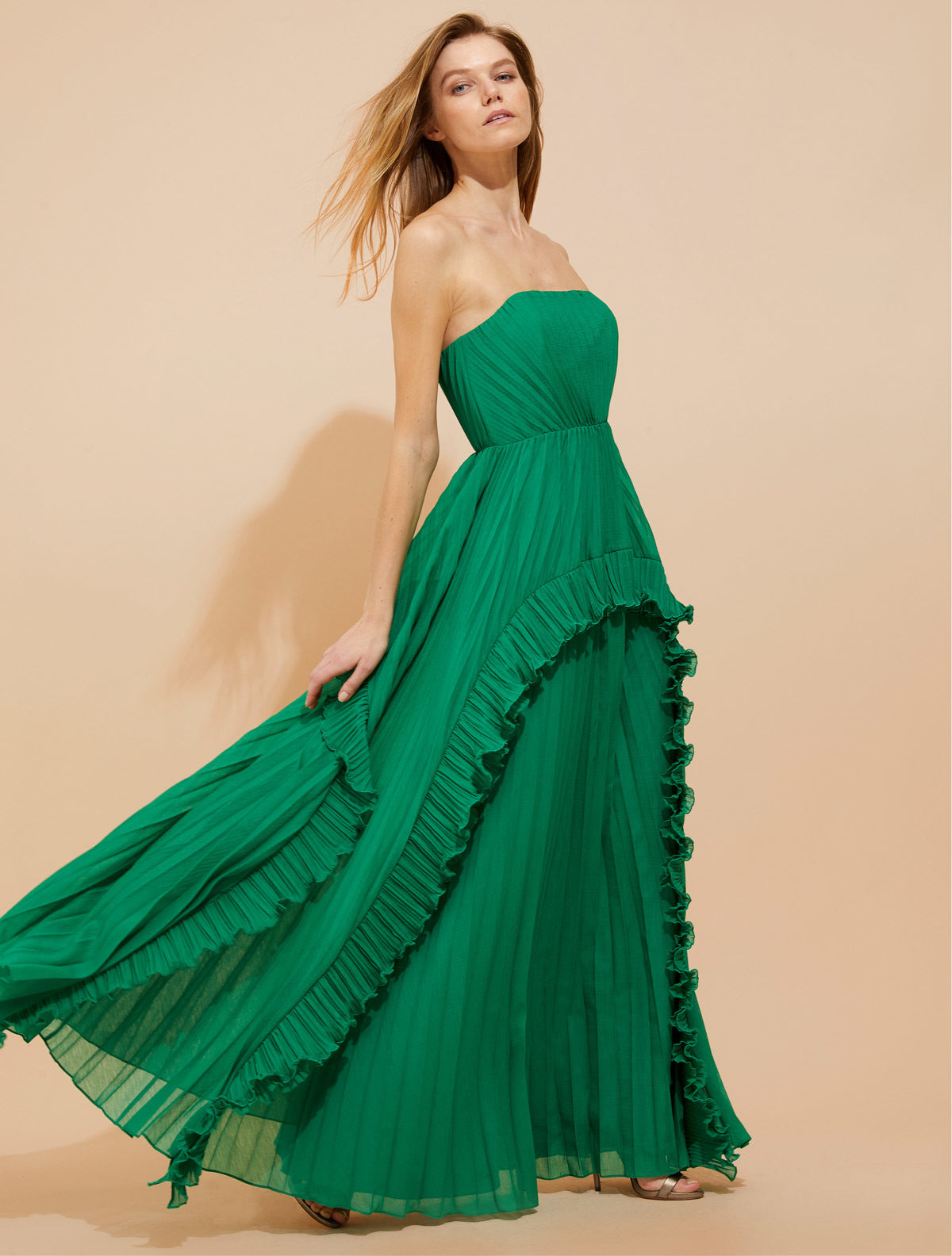 Pleated Burnout Georgette Gown - Halston
