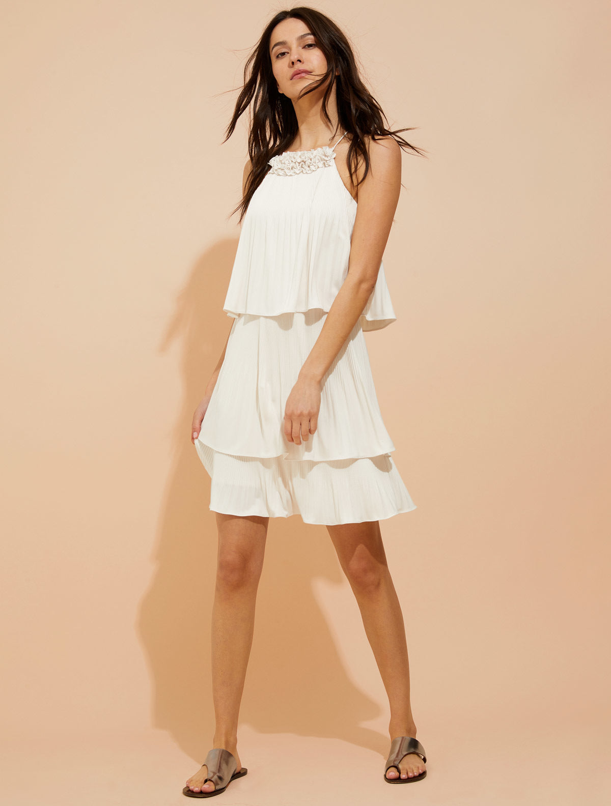 Pleated jersey dress - Halston