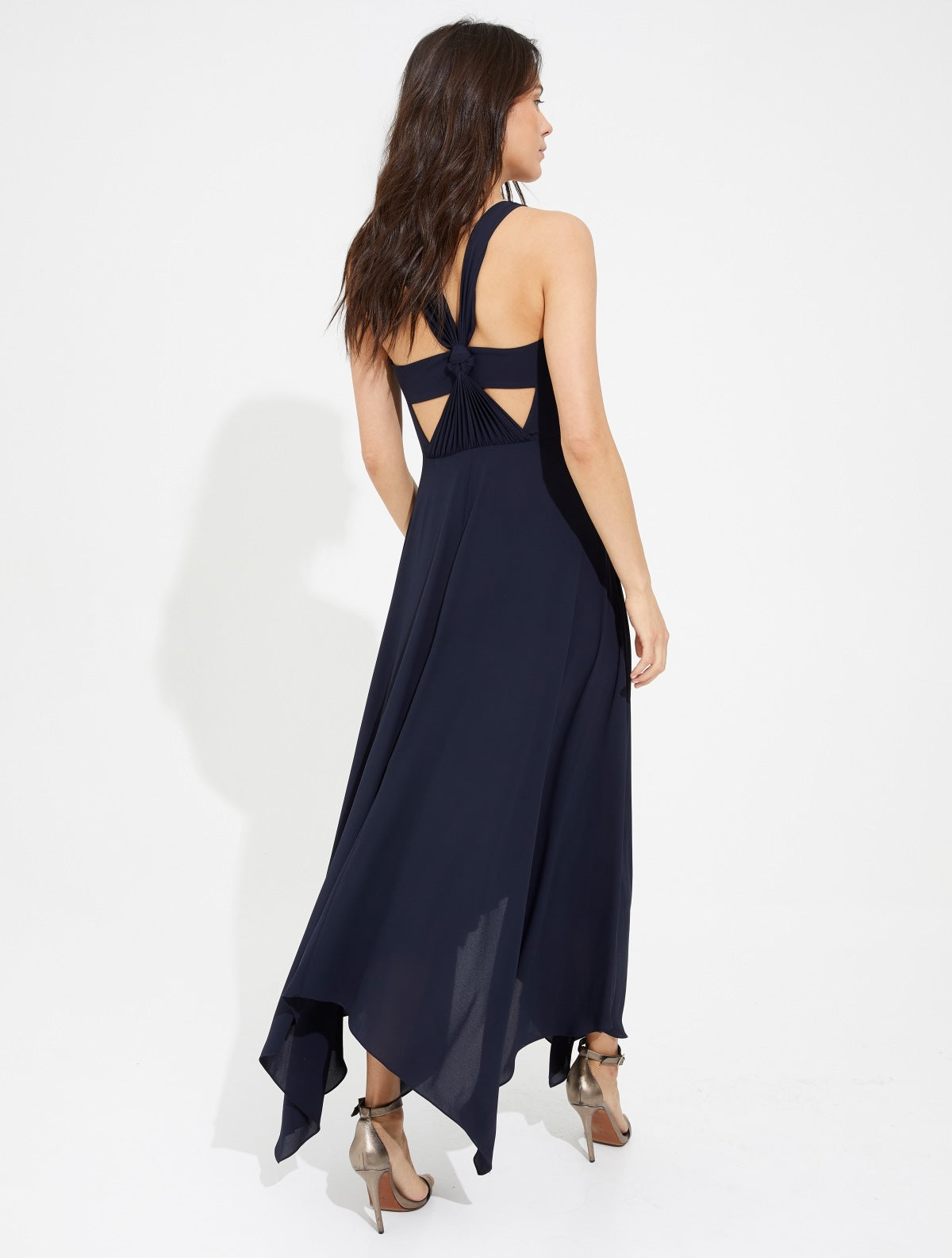 Knot back silky georgette gown - Halston