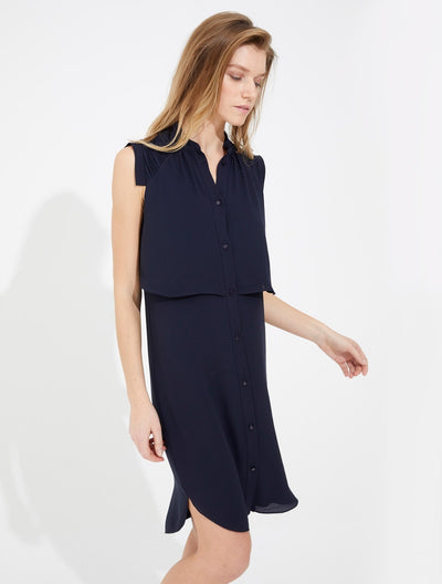 Sleeveless Shirtdress with Pleating Detail - Halston