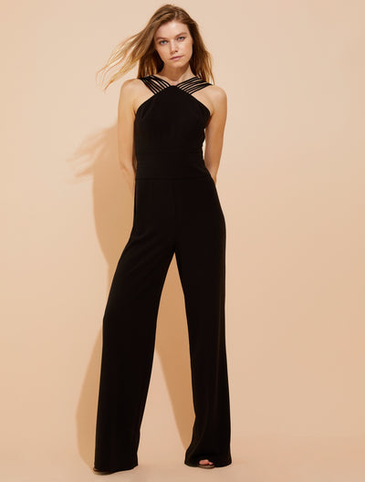 Multi-strip crepe jumpsuit - Halston