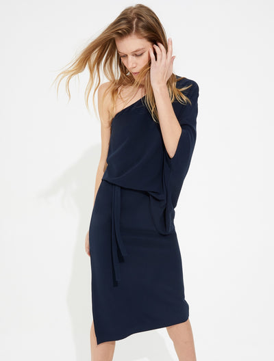 Draped one shoulder crepe dress - Halston