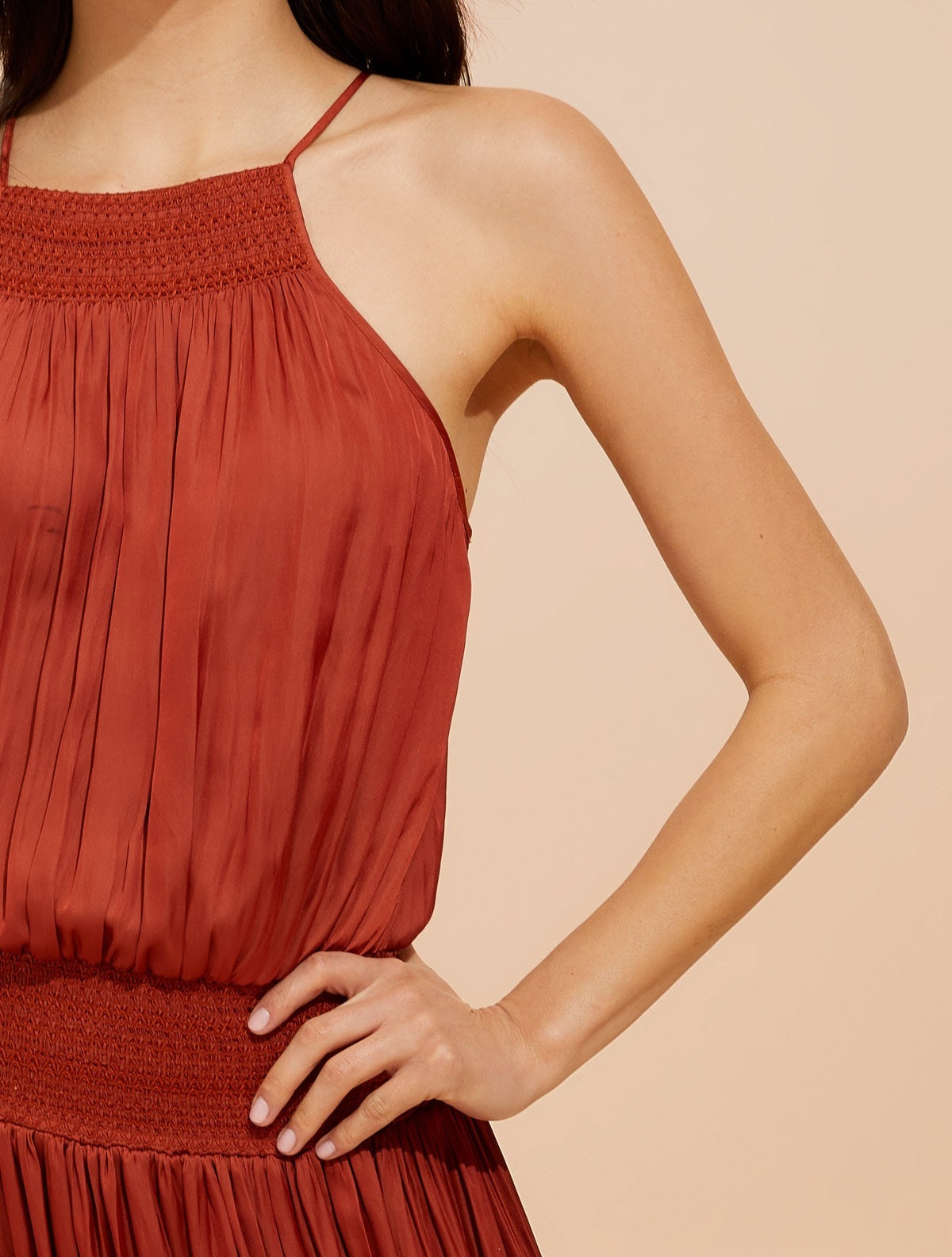 Smocked waist memory satin cami dress - Halston