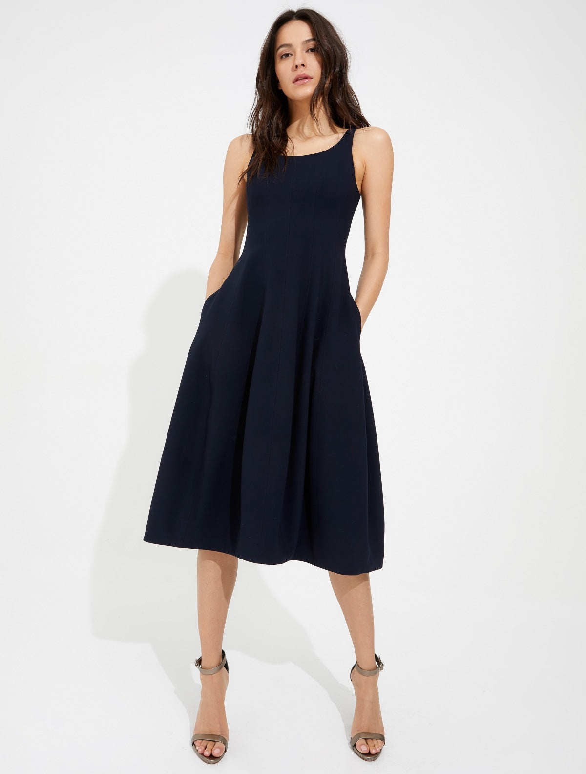 Architectural power crepe dress - Halston