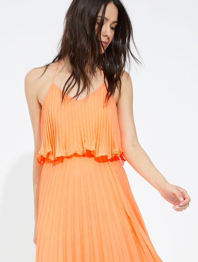 Pleated burout georgette dress - Halston
