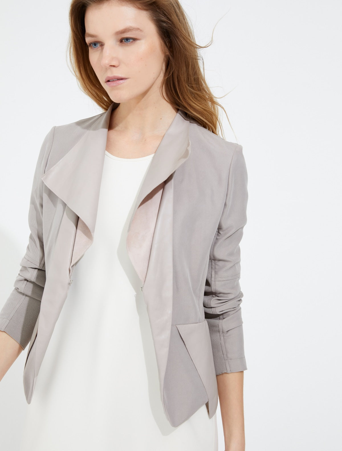 Leather twill combo jacket - Halston