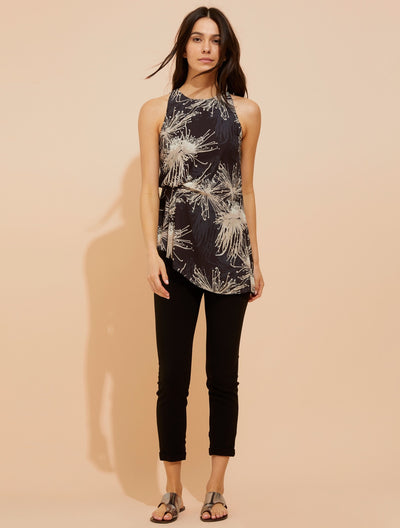 Printed draped top - Halston