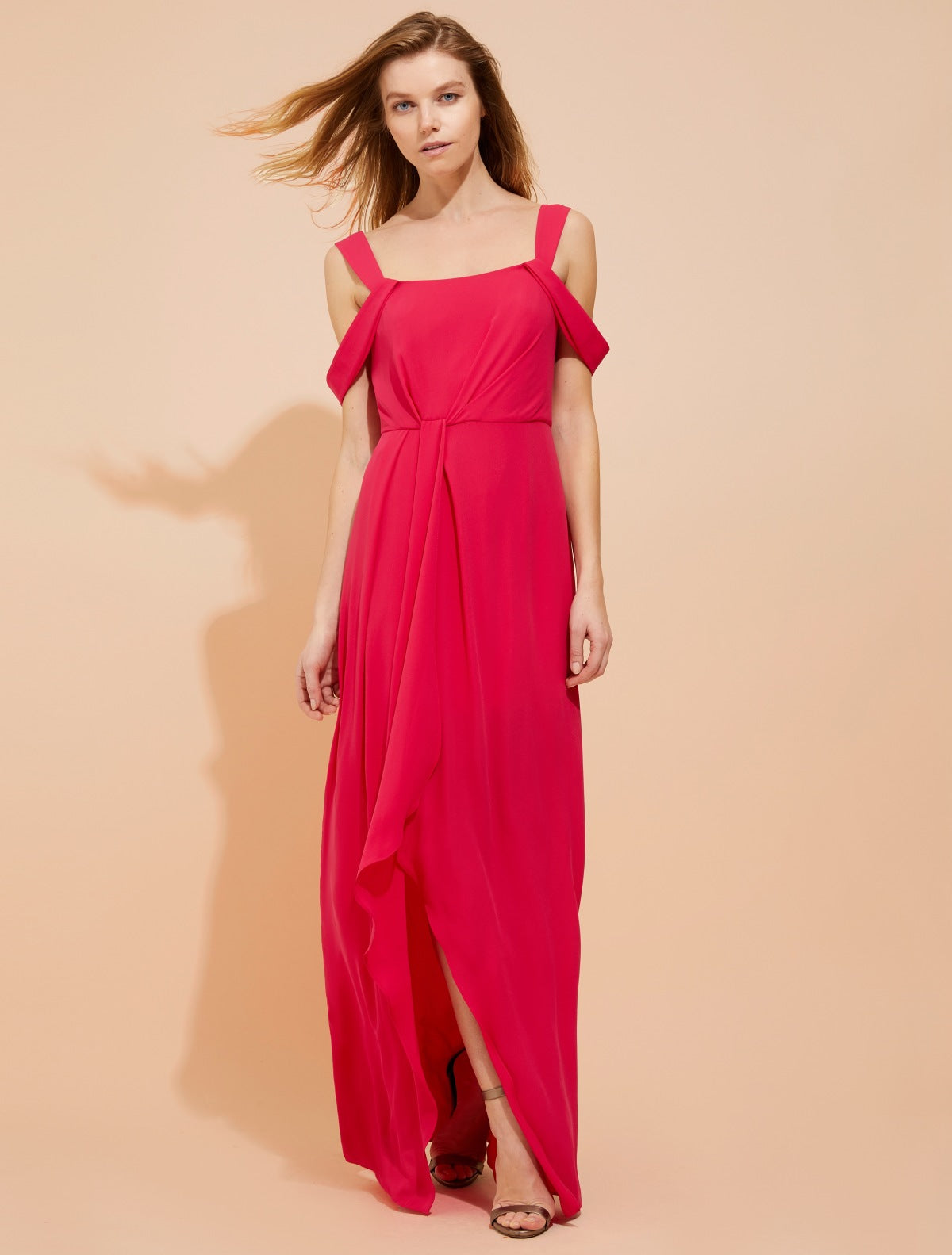 Cold shoulder draped silky georgette gown - Halston