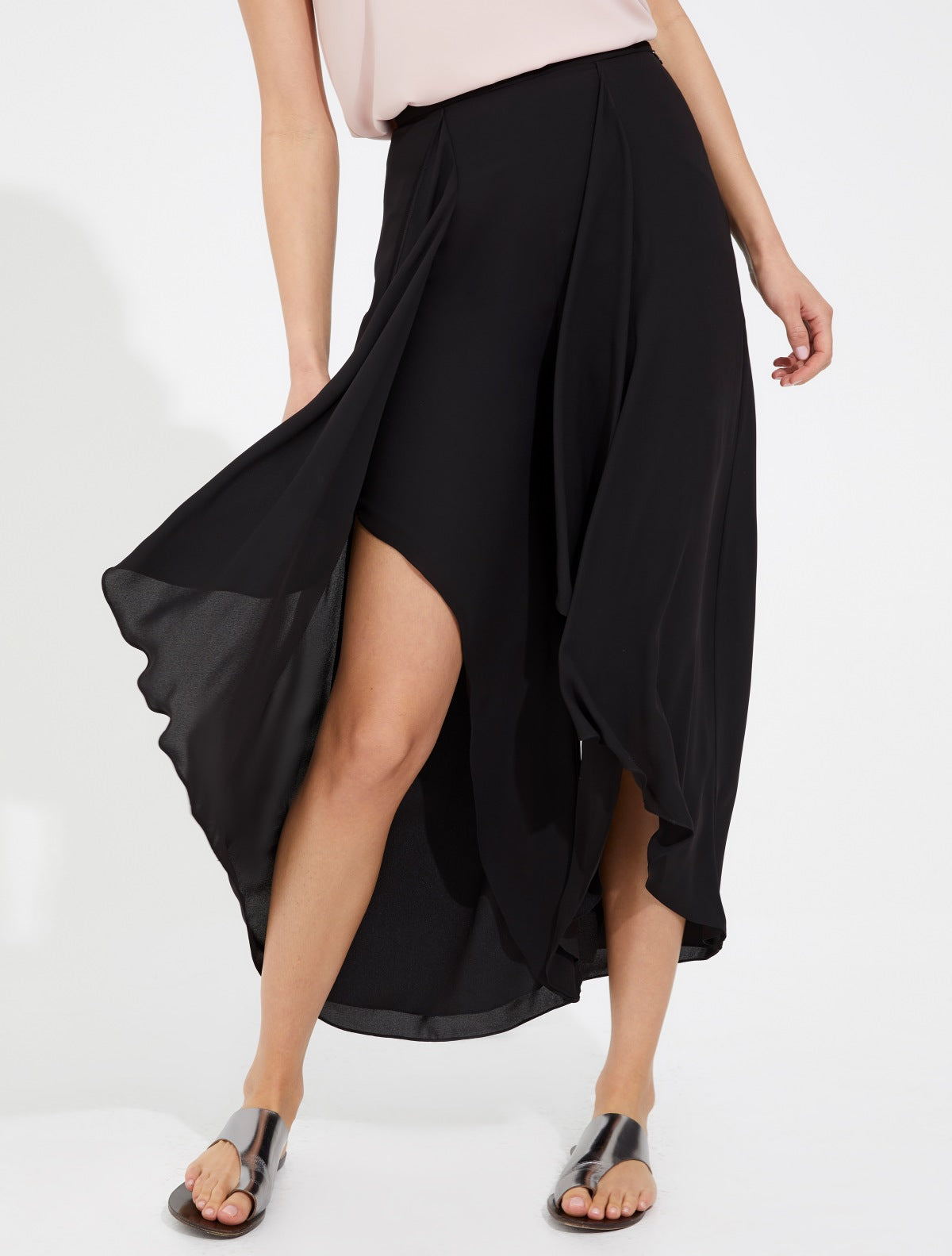 Draped flowing silky georgette pants - Halston