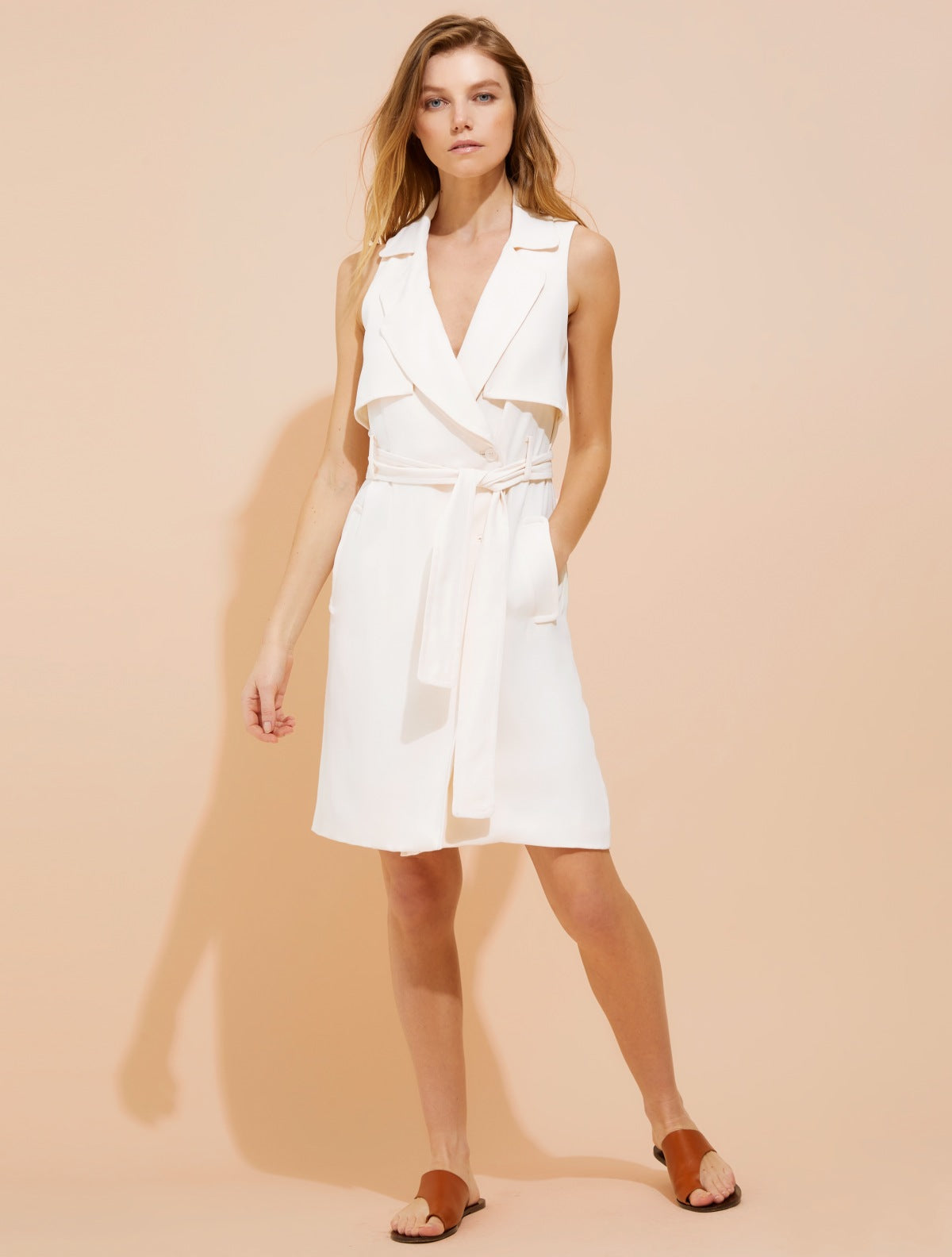 Crepe trench shirtdress - Halston