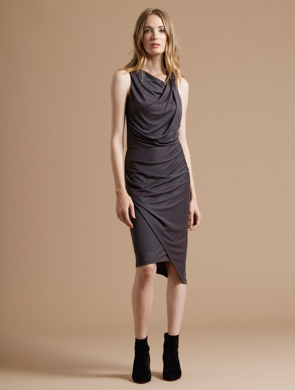 Peached Knit Draped Dress - Halston