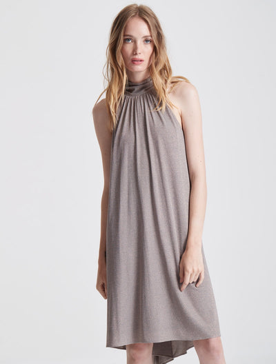 Mock Neck Metallic Knit Dress - Halston