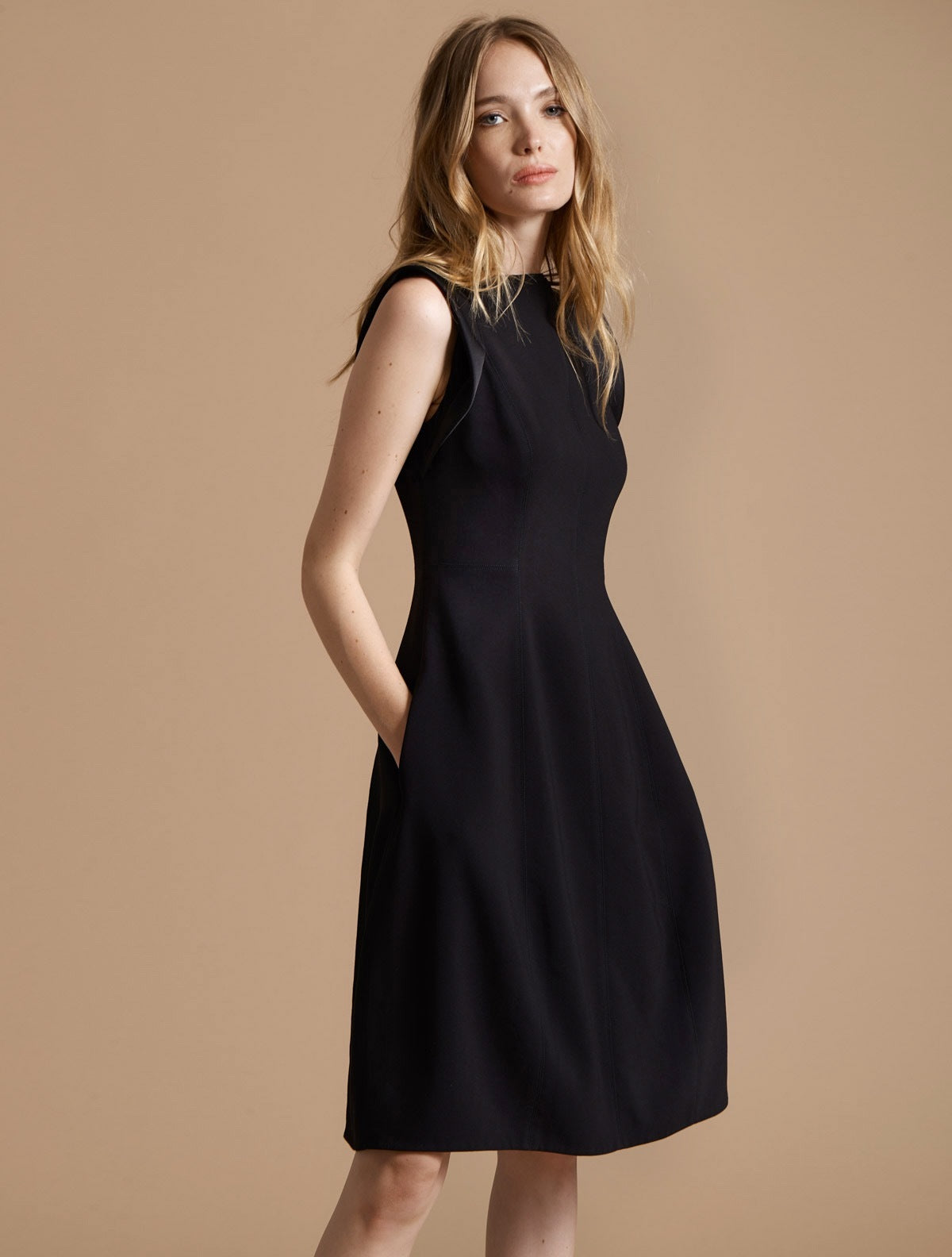 Power Crepe Architectural Dress - Halston