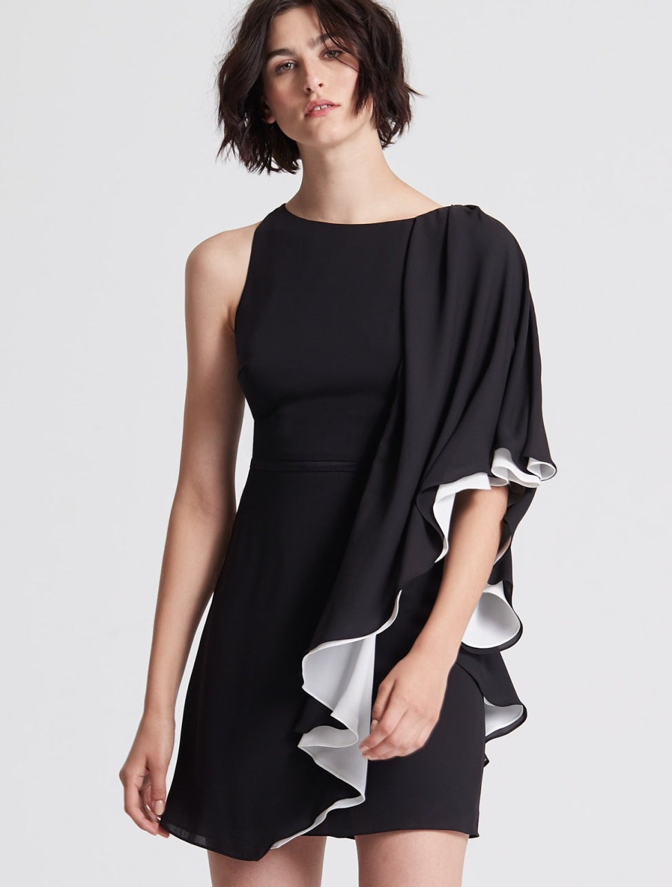 Asymmetric Color Blocked Flowy Dress - Halston