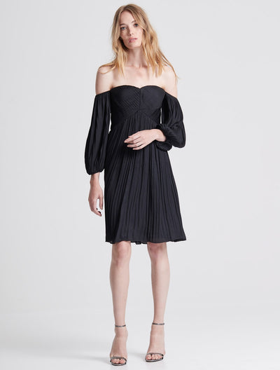 Off Shoulder Pleated Foiled Dress - Halston