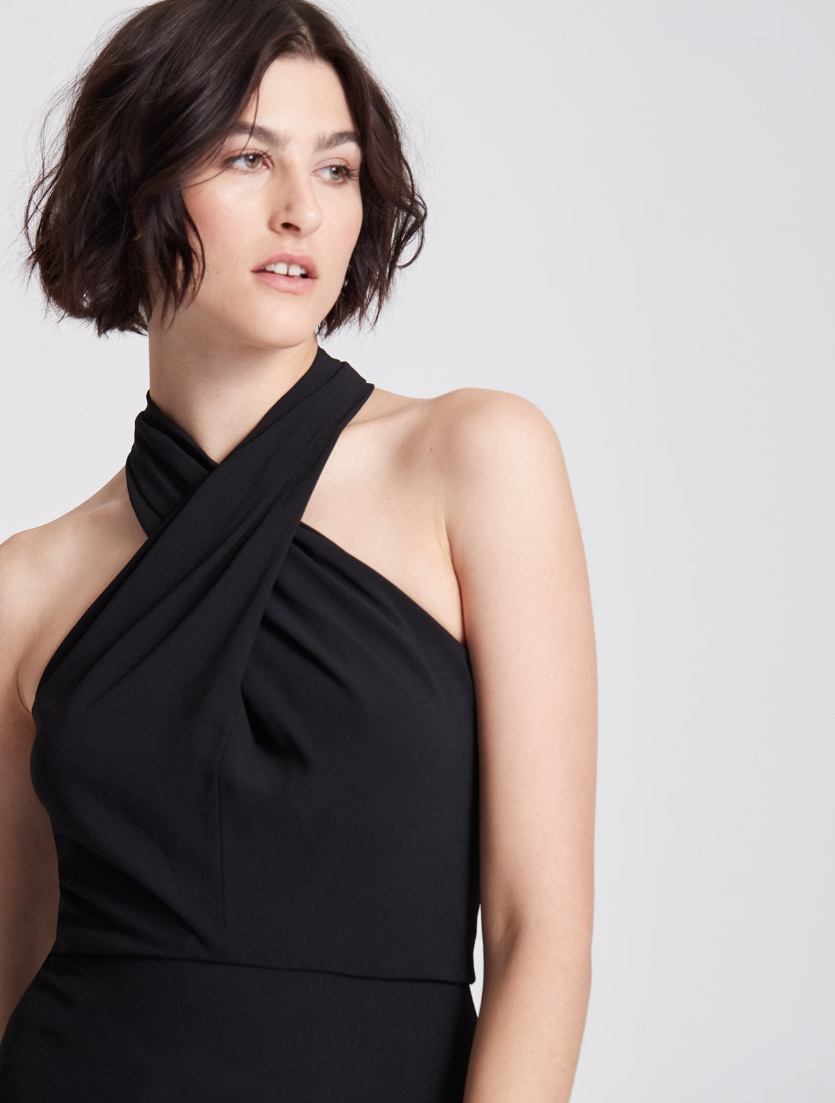 Iconic Cross Neck Crepe Gown - Halston