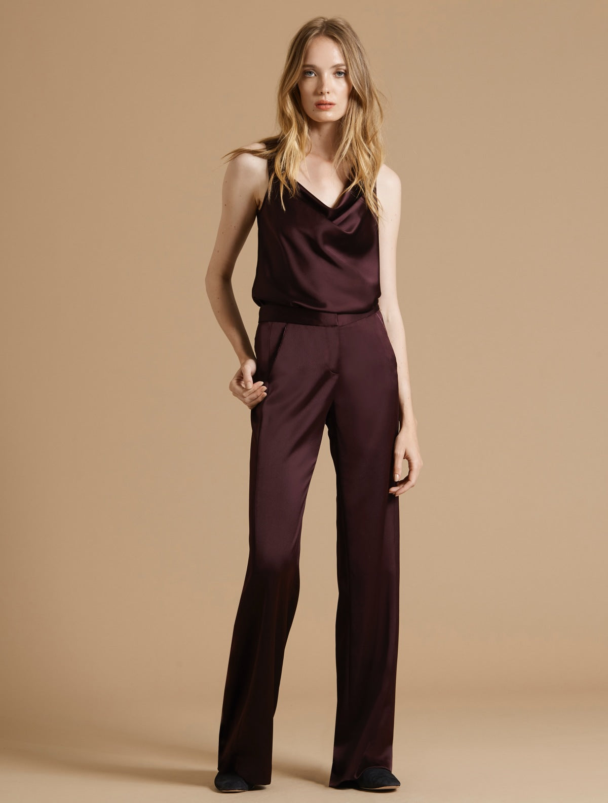 Pleat Detail Satin Pant - Halston