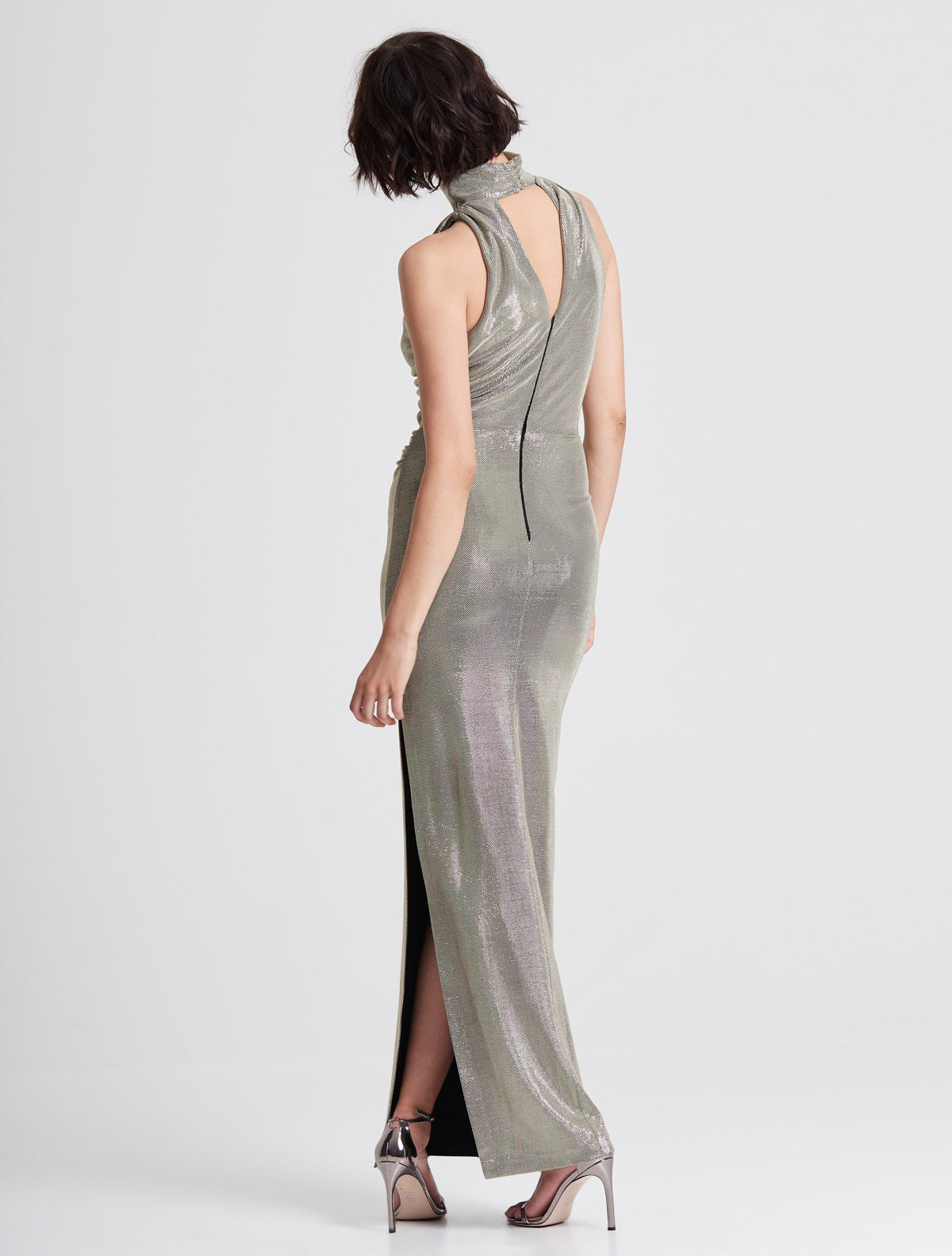Draped Neck Metallic Knit Gown - Halston