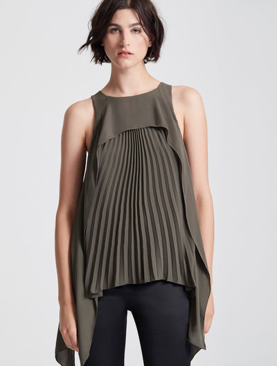 Sleeveless Pleated Draped Top - Halston