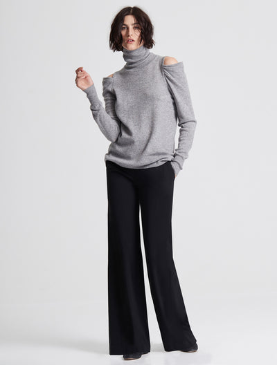 DRAPE COLD SHOULDER LONG SLEEVE TURTLENECK SWEATER - Halston