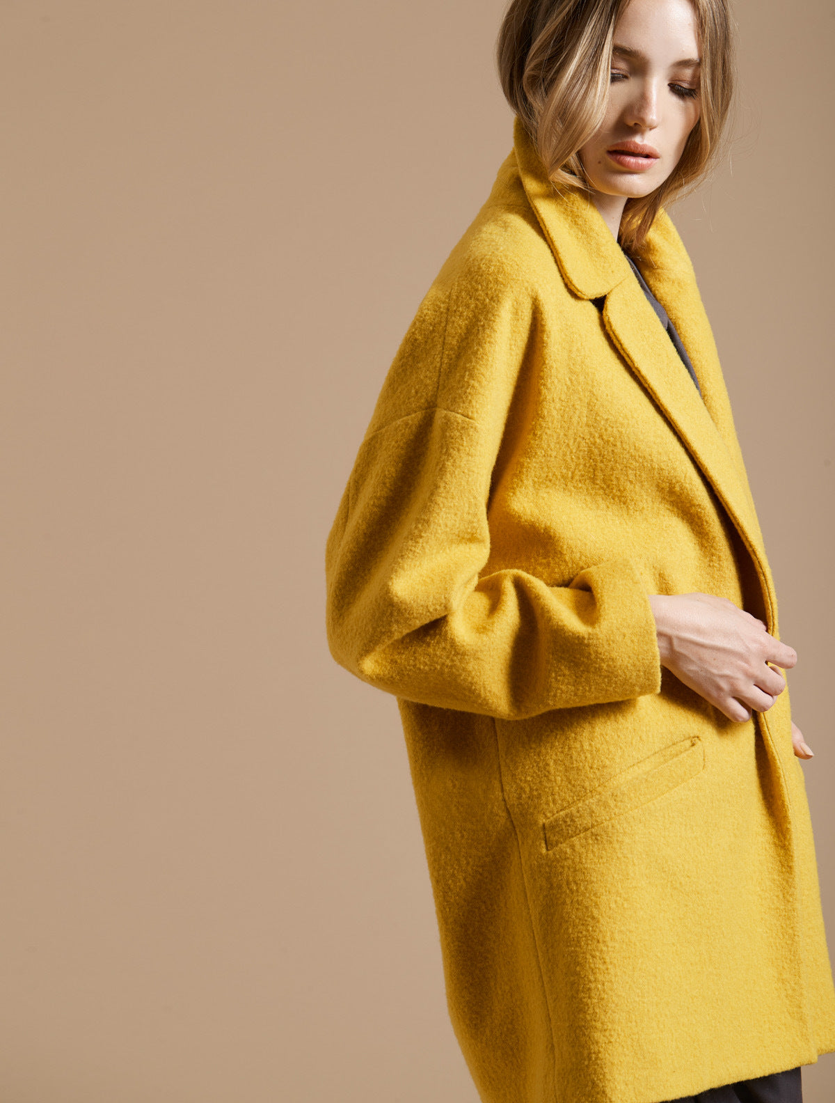 Long Sleeve Oversized Coat - Halston